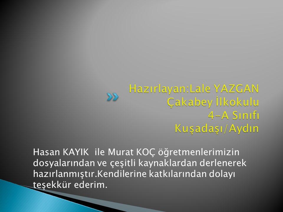 Hasan KAYIK ile Murat KOÇ öğretmenlerimizin dosyalarından ve çeşitli kaynaklardan derlenerek hazırlanmıştır.Kendilerine katkılarından dolayı teşekkür ederim.