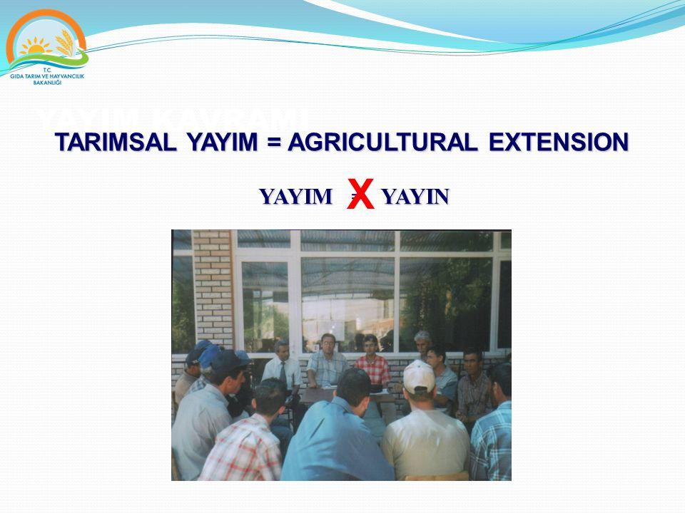 TARIMSAL YAYIM Çiftçilere,  Eğitim yoluyla tarımsal üretim şekilleri ve tekniklerinin geliştirilmesinde,  Tarımsal üretimde etkinliğin ve tarımsal gelirin artırılmasında,  Kırsal hayatın sosyal ve eğitimsel seviyesinin yükseltilmesinde,  Çiftçilerin problemlerini kendi kendilerine çözebilmesi için yayım elemanlarınca motive edilmeye çalışıldığı,  Bu yönde harekete geçebilmeleri için fikir ve cesaret ile birlikte yetenek kazandırmaya yönelik yardımların sağlandığı bir süreç olarak tanımlanabilir.
