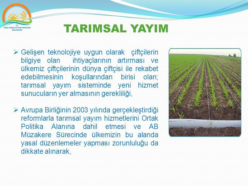 Kamu yayım hizmetleri, Kamu dışı yayım hizmetleri, Tarımsal bilgilendirme faaliyetlerine ilişkin kural ve yöntemlerini belirlemek amacı ile Tarımsal Yayım ve Danışmanlık Hizmetlerinin Düzenlemesine Dair Yönetmelik 8 Eylül 2006 tarihinde yürürlüğe konulmuştur.