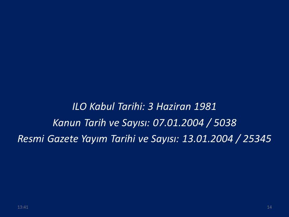 ILO Kabul Tarihi: 3 Haziran 1981 Kanun Tarih ve Sayısı: 07.01.2004 / 5038 Resmi Gazete Yayım Tarihi ve Sayısı: 13.01.2004 / 25345 1413:43