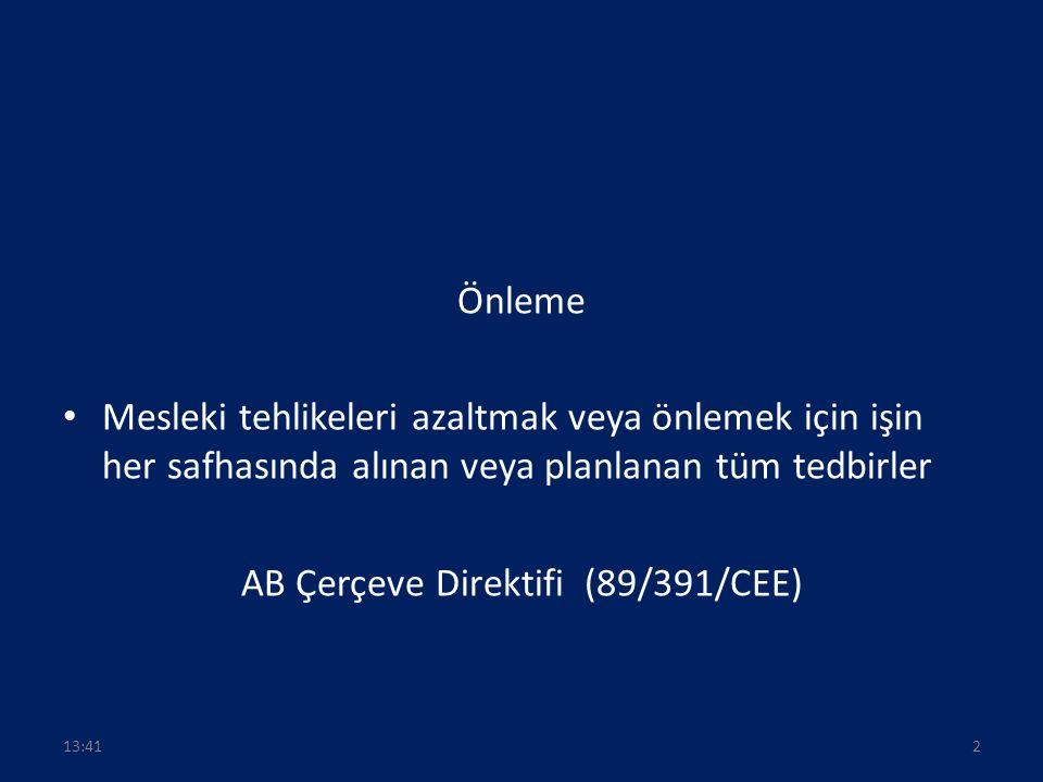 Önleme Mesleki tehlikeleri azaltmak veya önlemek için işin her safhasında alınan veya planlanan tüm tedbirler AB Çerçeve Direktifi (89/391/CEE) 213:43