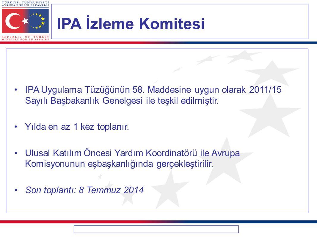 IPA İzleme Komitesi IPA Uygulama Tüzüğünün 58. Maddesine uygun olarak 2011/15 Sayılı Başbakanlık Genelgesi ile teşkil edilmiştir. Yılda en az 1 kez to