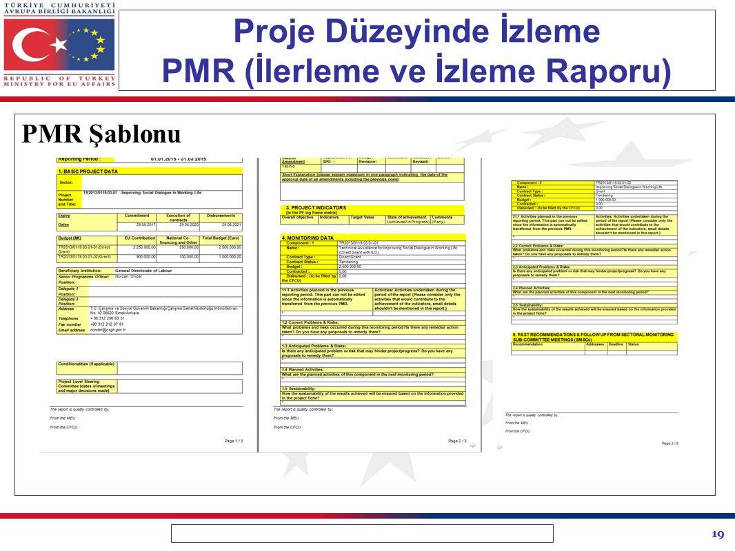 19 Proje Düzeyinde İzleme PMR (İlerleme ve İzleme Raporu) PMR Şablonu