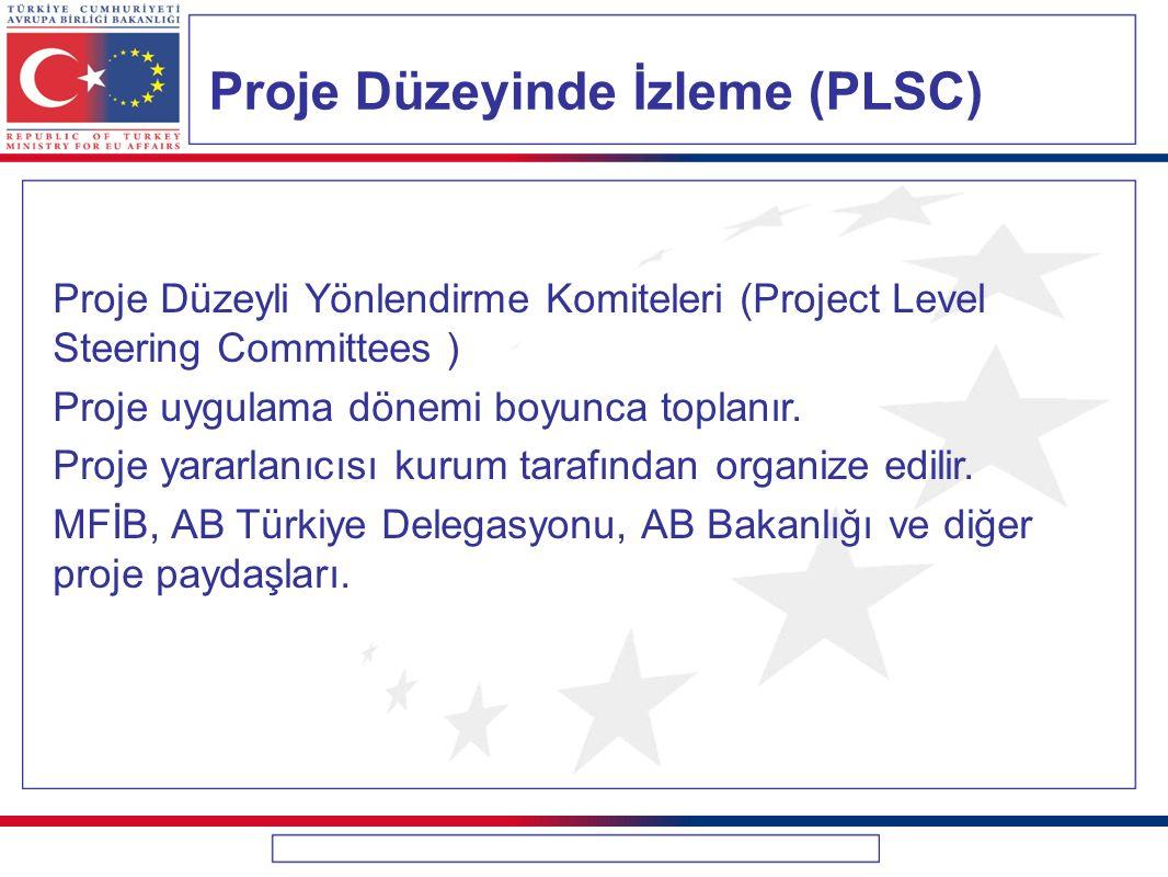 Proje Düzeyinde İzleme (PLSC) Proje Düzeyli Yönlendirme Komiteleri (Project Level Steering Committees ) Proje uygulama dönemi boyunca toplanır. Proje