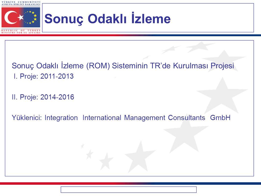 Sonuç Odaklı İzleme Sonuç Odaklı İzleme (ROM) Sisteminin TR'de Kurulması Projesi I. Proje: 2011-2013 II. Proje: 2014-2016 Yüklenici: Integration Inter