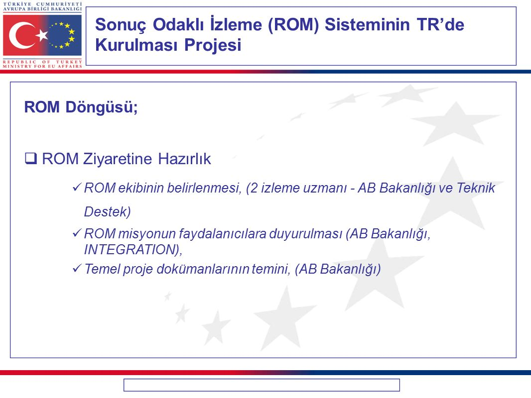 Sonuç Odaklı İzleme (ROM) Sisteminin TR'de Kurulması Projesi ROM Döngüsü;  ROM Ziyaretine Hazırlık ROM ekibinin belirlenmesi, (2 izleme uzmanı - AB B