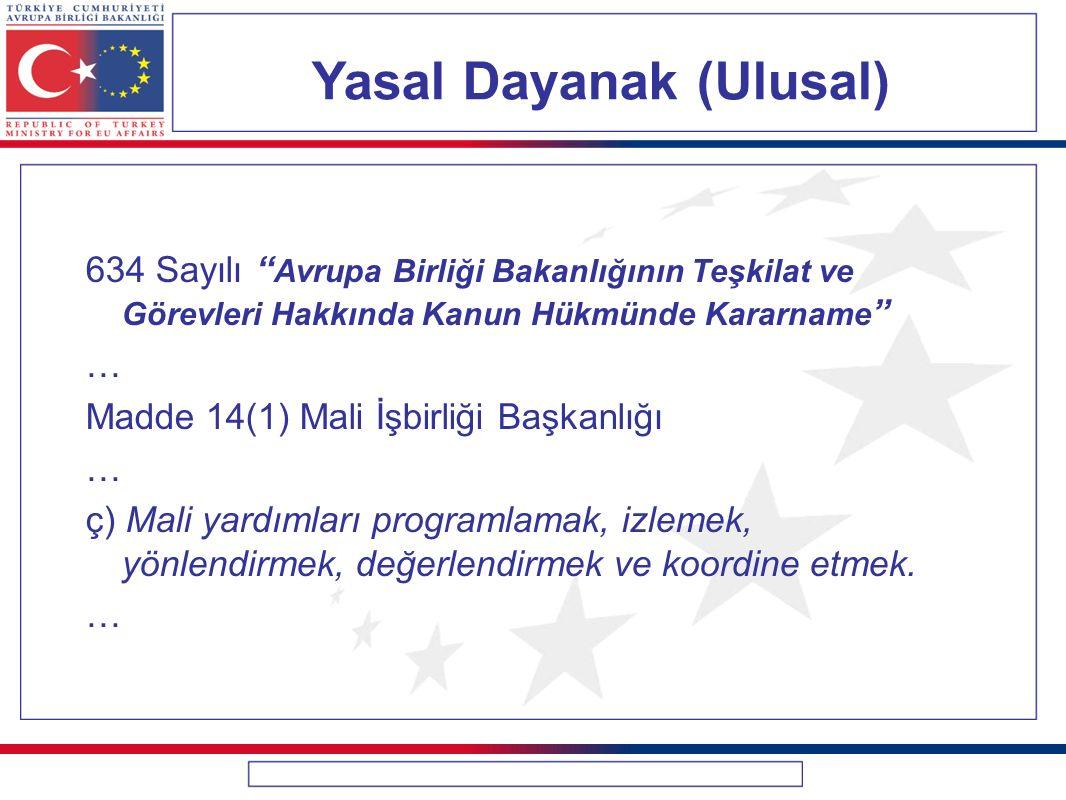 """Yasal Dayanak (Ulusal) 634 Sayılı """" Avrupa Birliği Bakanlığının Teşkilat ve Görevleri Hakkında Kanun Hükmünde Kararname """" … Madde 14(1) Mali İşbirliği"""