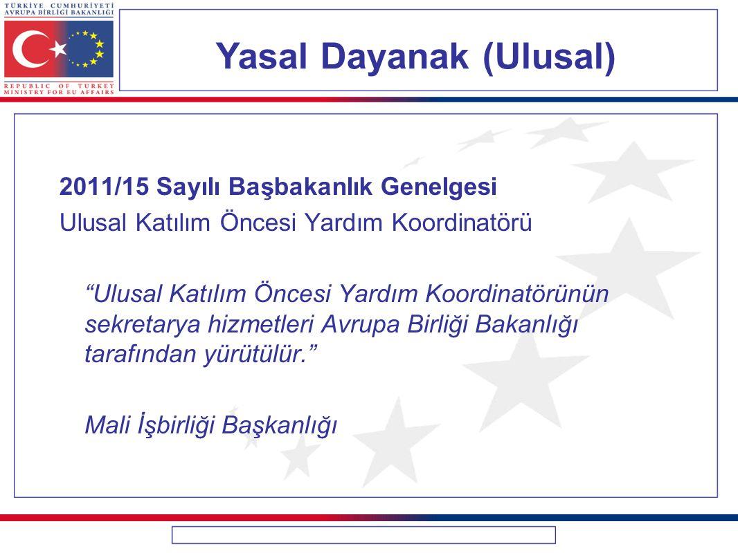 """Yasal Dayanak (Ulusal) 2011/15 Sayılı Başbakanlık Genelgesi Ulusal Katılım Öncesi Yardım Koordinatörü """"Ulusal Katılım Öncesi Yardım Koordinatörünün se"""