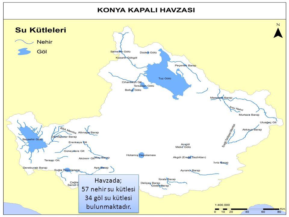 41 Havzada; 57 nehir su kütlesi 34 göl su kütlesi bulunmaktadır.