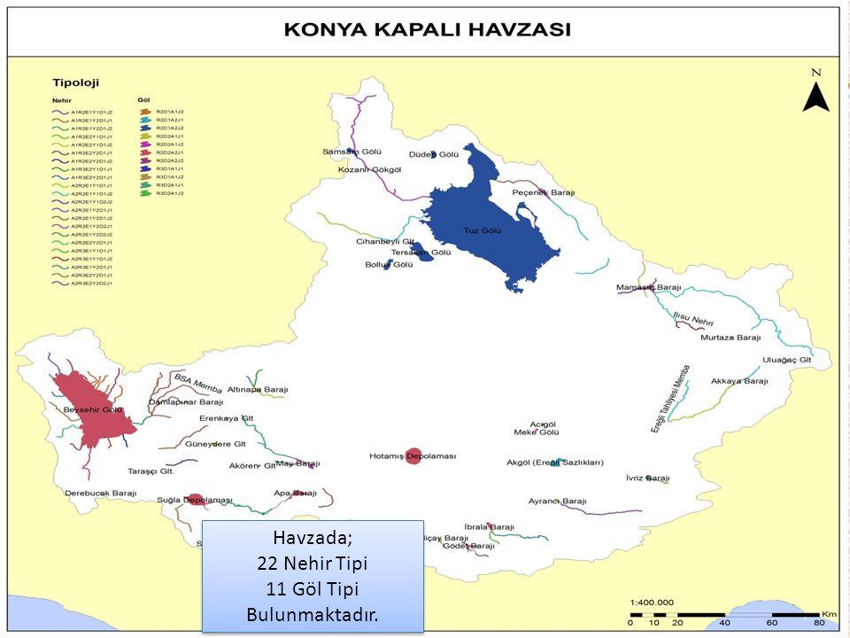 42 Havzada; 22 Nehir Tipi 11 Göl Tipi Bulunmaktadır.