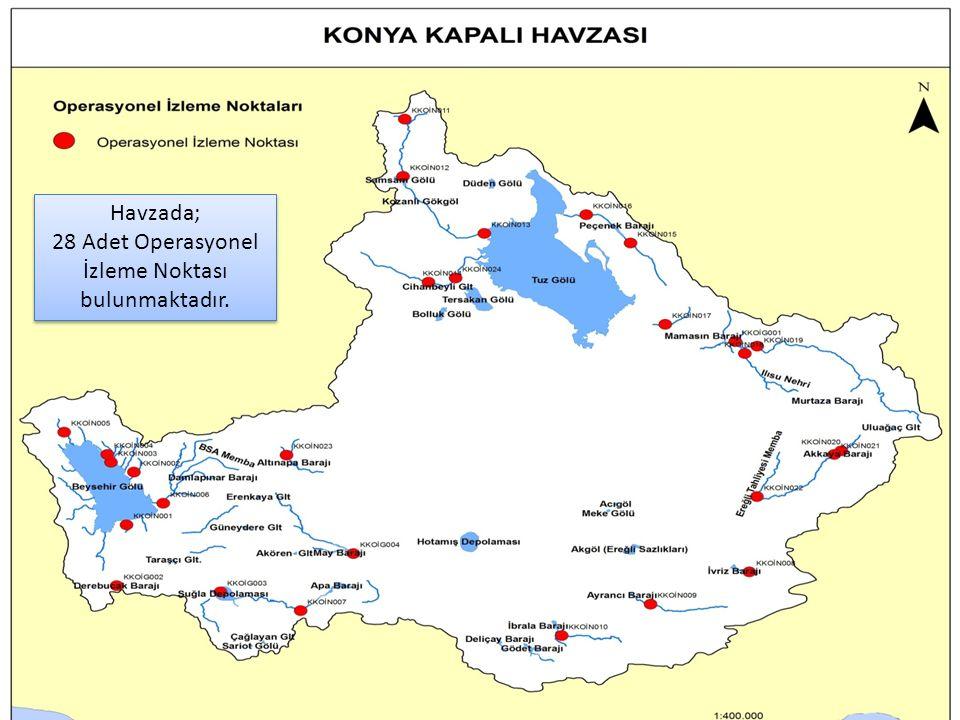 52 Havzada; 28 Adet Operasyonel İzleme Noktası bulunmaktadır.