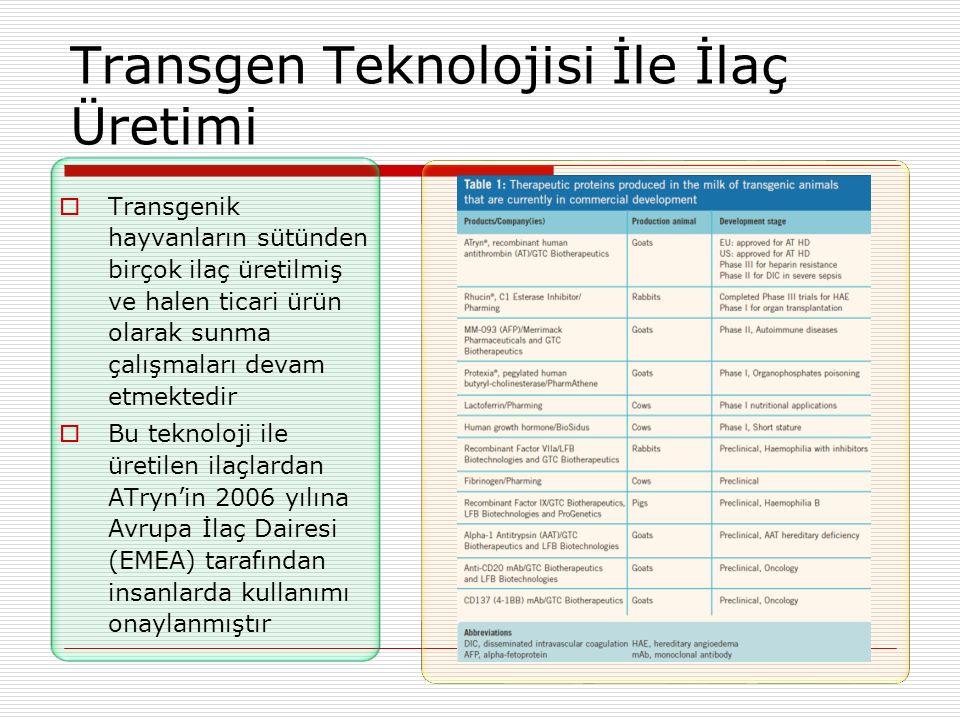 Transgen Teknolojisi İle İlaç Üretimi  Transgenik hayvanların sütünden birçok ilaç üretilmiş ve halen ticari ürün olarak sunma çalışmaları devam etme