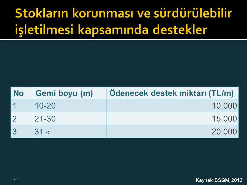 NoGemi boyu (m)Ödenecek destek miktarı (TL/m) 110-2010.000 221-3015.000 3 31 ˂ 20.000 Kaynak: BSGM, 2013 15