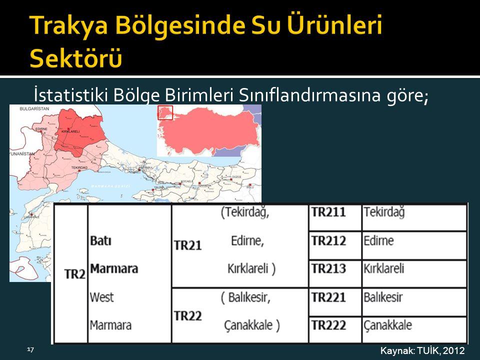 İstatistiki Bölge Birimleri Sınıflandırmasına göre; Kaynak: TUİK, 2012 17