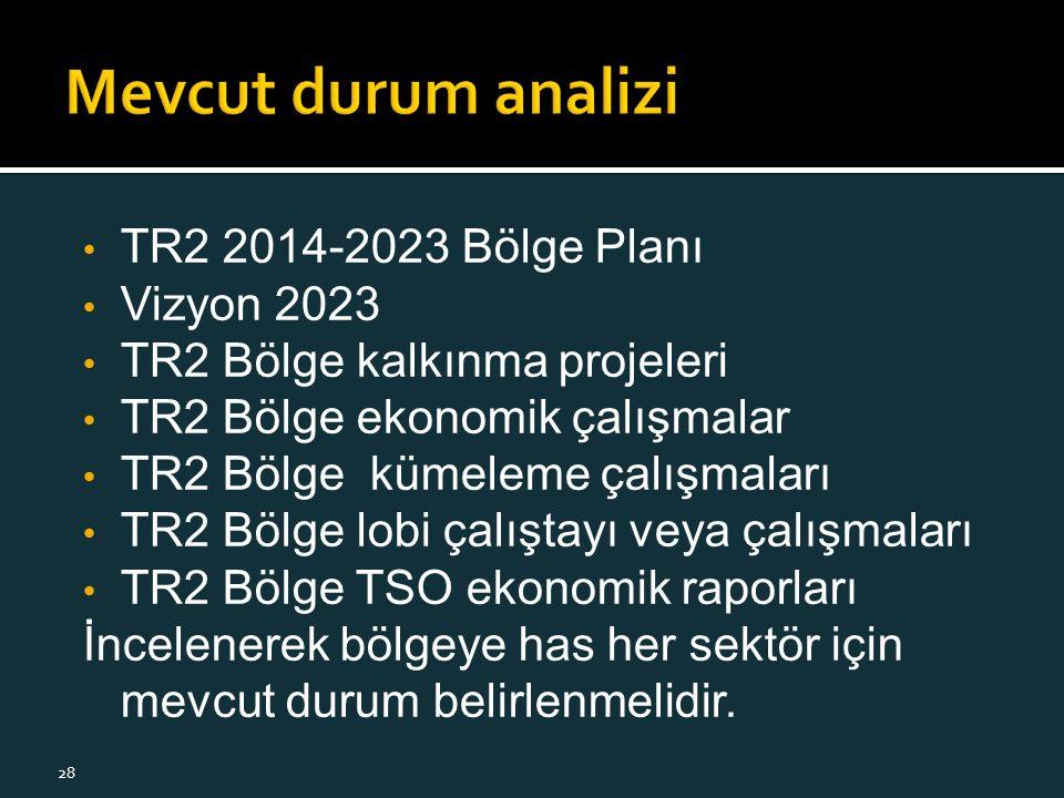 TR2 2014-2023 Bölge Planı Vizyon 2023 TR2 Bölge kalkınma projeleri TR2 Bölge ekonomik çalışmalar TR2 Bölge kümeleme çalışmaları TR2 Bölge lobi çalıştayı veya çalışmaları TR2 Bölge TSO ekonomik raporları İncelenerek bölgeye has her sektör için mevcut durum belirlenmelidir.