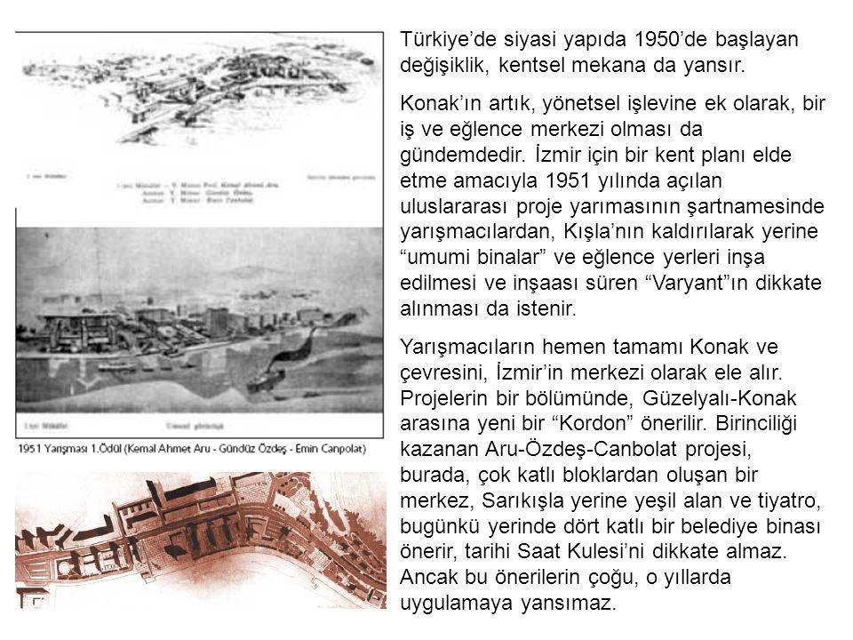 Türkiye'de siyasi yapıda 1950'de başlayan değişiklik, kentsel mekana da yansır.