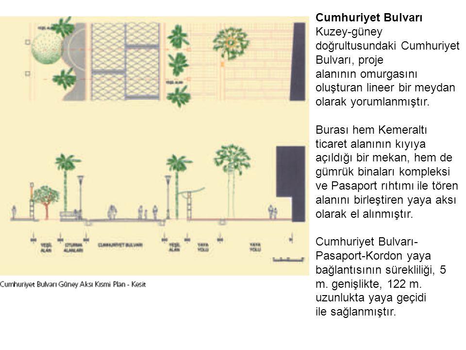 Cumhuriyet Bulvarı Kuzey-güney doğrultusundaki Cumhuriyet Bulvarı, proje alanının omurgasını oluşturan lineer bir meydan olarak yorumlanmıştır.