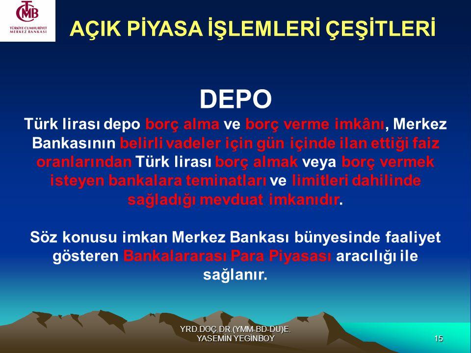 15 YRD.DOÇ.DR.(YMM-BD-DU)E. YASEMİN YEGİNBOY DEPO Türk lirası depo borç alma ve borç verme imkânı, Merkez Bankasının belirli vadeler için gün içinde i