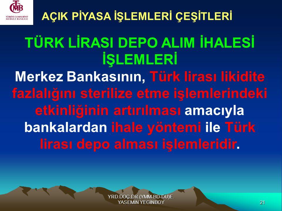 21 YRD.DOÇ.DR.(YMM-BD-DU)E. YASEMİN YEGİNBOY AÇIK PİYASA İŞLEMLERİ ÇEŞİTLERİ TÜRK LİRASI DEPO ALIM İHALESİ İŞLEMLERİ Merkez Bankasının, Türk lirası li