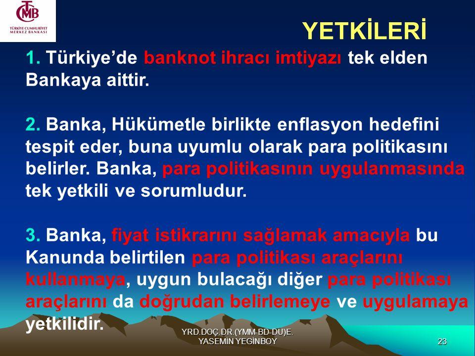 23 YRD.DOÇ.DR.(YMM-BD-DU)E. YASEMİN YEGİNBOY 1. Türkiye'de banknot ihracı imtiyazı tek elden Bankaya aittir. 2. Banka, Hükümetle birlikte enflasyon he