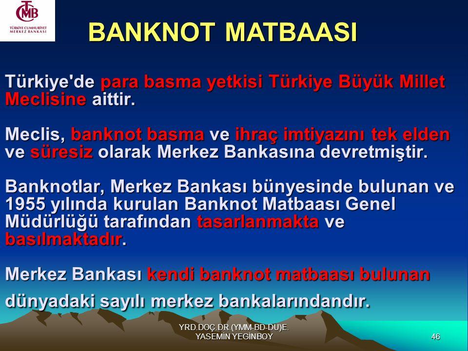 46 YRD.DOÇ.DR.(YMM-BD-DU)E. YASEMİN YEGİNBOY Türkiye'de para basma yetkisi Türkiye Büyük Millet Meclisine aittir. Meclis, banknot basma ve ihraç imtiy