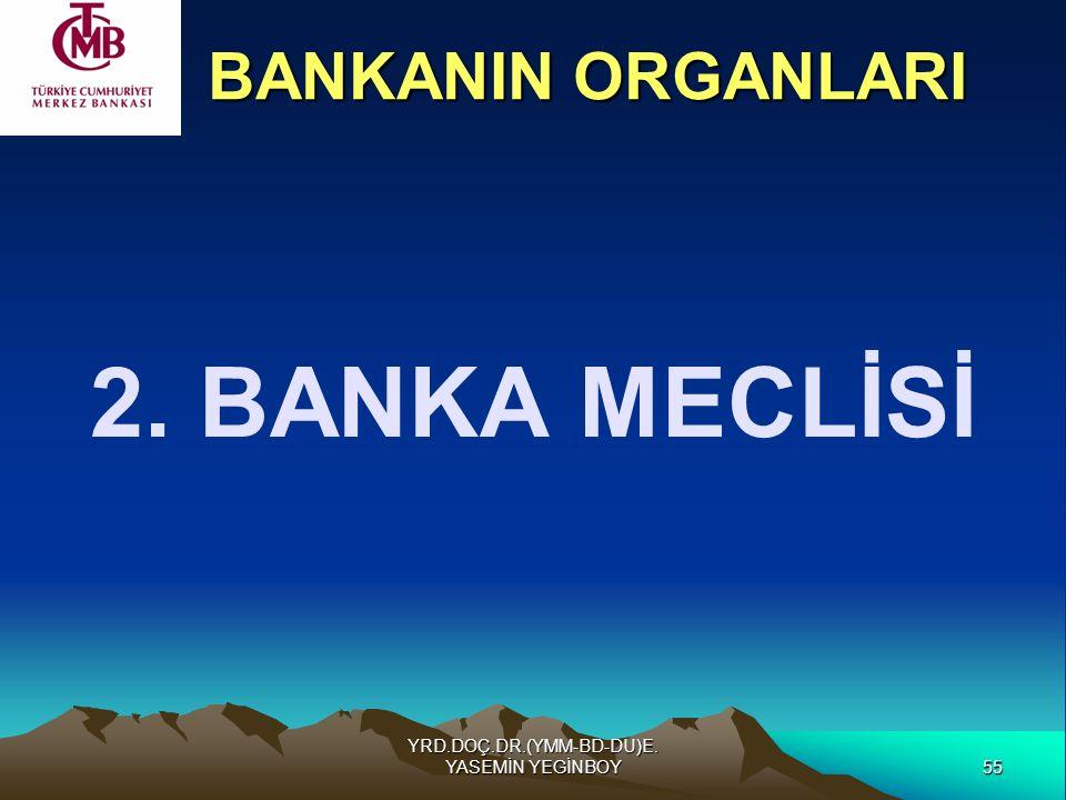 55 YRD.DOÇ.DR.(YMM-BD-DU)E. YASEMİN YEGİNBOY 2. BANKA MECLİSİ BANKANIN ORGANLARI