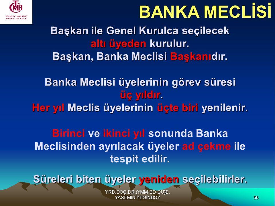 56 YRD.DOÇ.DR.(YMM-BD-DU)E. YASEMİN YEGİNBOY Başkan ile Genel Kurulca seçilecek altı üyeden kurulur. Başkan, Banka Meclisi Başkanıdır. Banka Meclisi ü