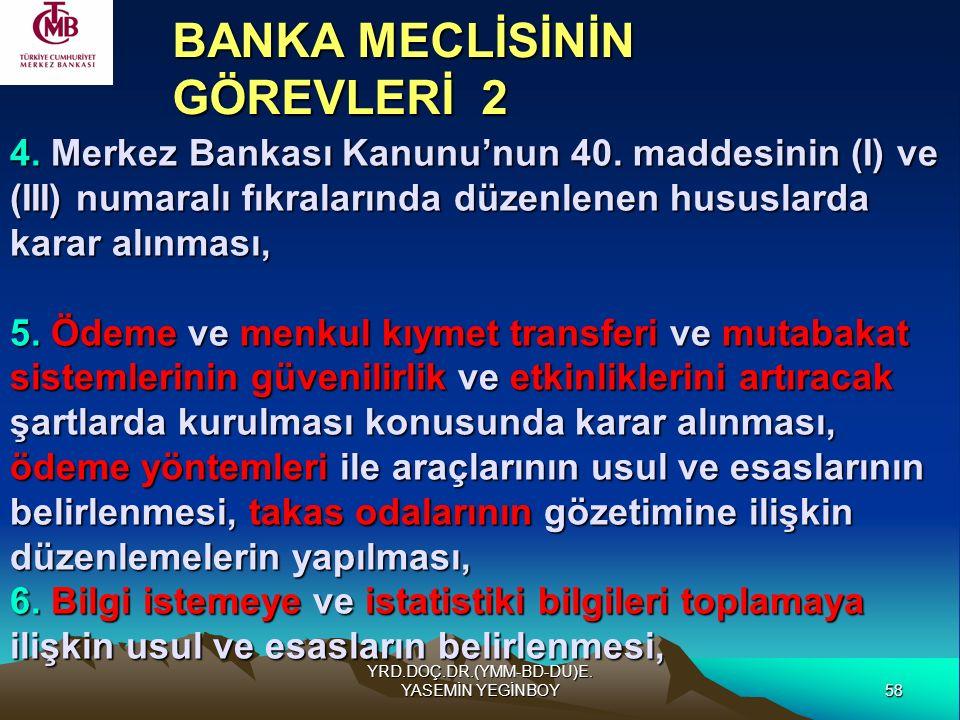 58 YRD.DOÇ.DR.(YMM-BD-DU)E. YASEMİN YEGİNBOY 4. Merkez Bankası Kanunu'nun 40. maddesinin (I) ve (III) numaralı fıkralarında düzenlenen hususlarda kara