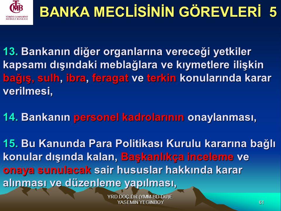 61 YRD.DOÇ.DR.(YMM-BD-DU)E. YASEMİN YEGİNBOY 13. Bankanın diğer organlarına vereceği yetkiler kapsamı dışındaki meblağlara ve kıymetlere ilişkin bağış
