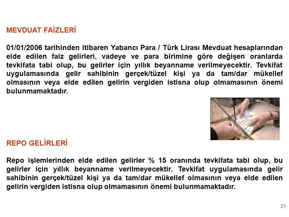 21 MEVDUAT FAİZLERİ 01/01/2006 tarihinden itibaren Yabancı Para / Türk Lirası Mevduat hesaplarından elde edilen faiz gelirleri, vadeye ve para birimine göre değişen oranlarda tevkifata tabi olup, bu gelirler için yıllık beyanname verilmeyecektir.