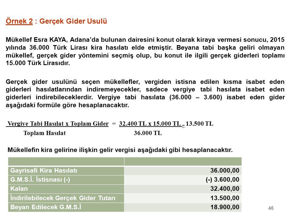 46 Örnek 2 : Gerçek Gider Usulü Mükellef Esra KAYA, Adana'da bulunan dairesini konut olarak kiraya vermesi sonucu, 2015 yılında 36.000 Türk Lirası kira hasılatı elde etmiştir.