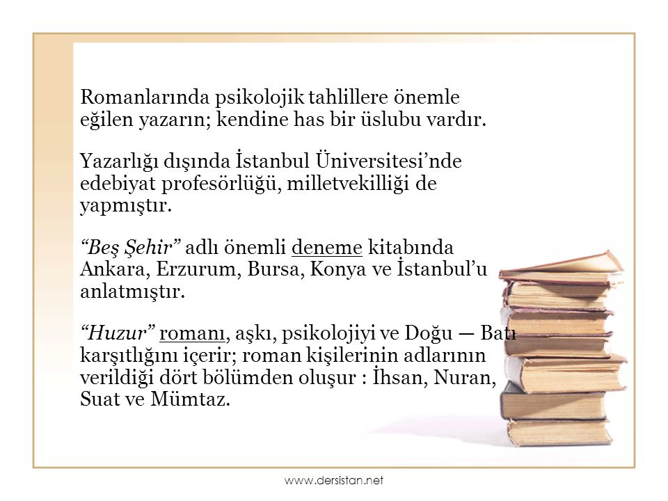 Romanlarında psikolojik tahlillere önemle eğilen yazarın; kendine has bir üslubu vardır. Yazarlığı dışında İstanbul Üniversitesi'nde edebiyat profesör