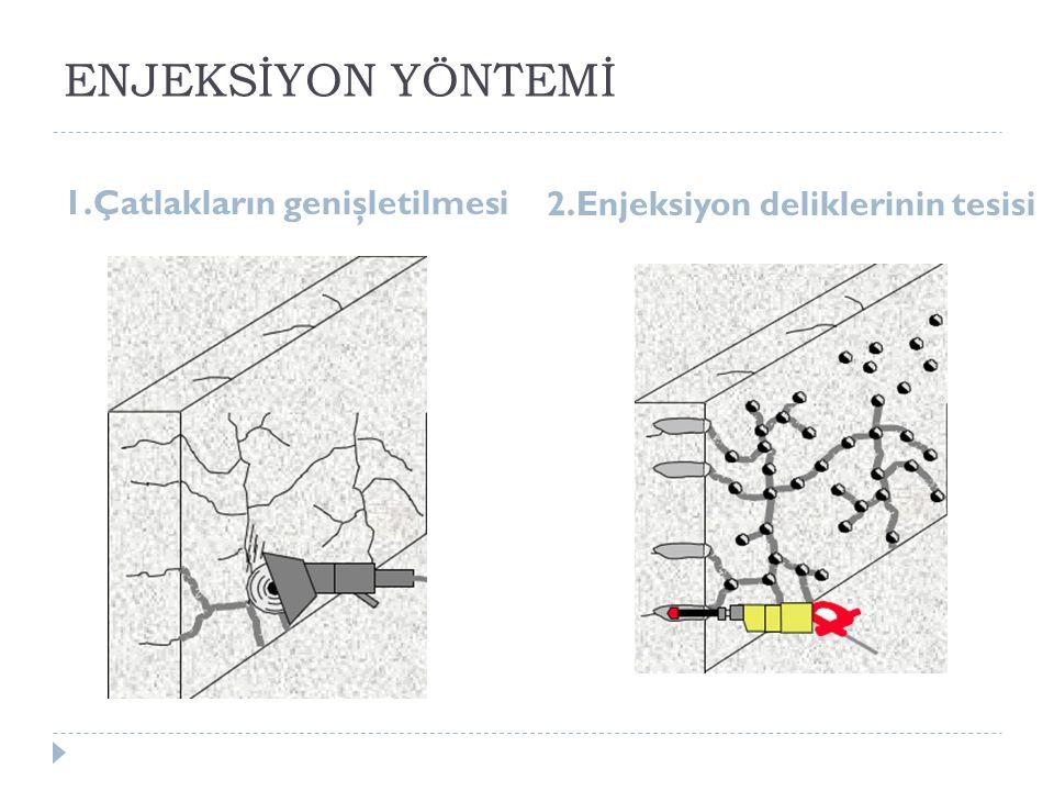 ENJEKSİYON YÖNTEMİ 1.Çatlakların genişletilmesi 2.Enjeksiyon deliklerinin tesisi