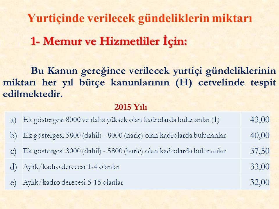 Yurtiçinde verilecek gündeliklerin miktarı 1- Memur ve Hizmetliler İçin: Bu Kanun gereğince verilecek yurtiçi gündeliklerinin miktarı her yıl bütçe kanunlarının (H) cetvelinde tespit edilmektedir.