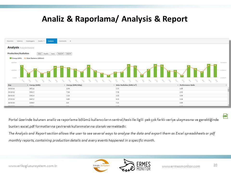 Analiz & Raporlama/ Analysis & Report Portal üzerinde bulunan analiz ve raporlama bölümü kullanıcıların santral/tesis ile ilgili pek çok farklı veriye ulaşmasına ve gerektiğinde bunları excel,pdf formatlarına çevirerek kullanmalarına olanak vermektedir.