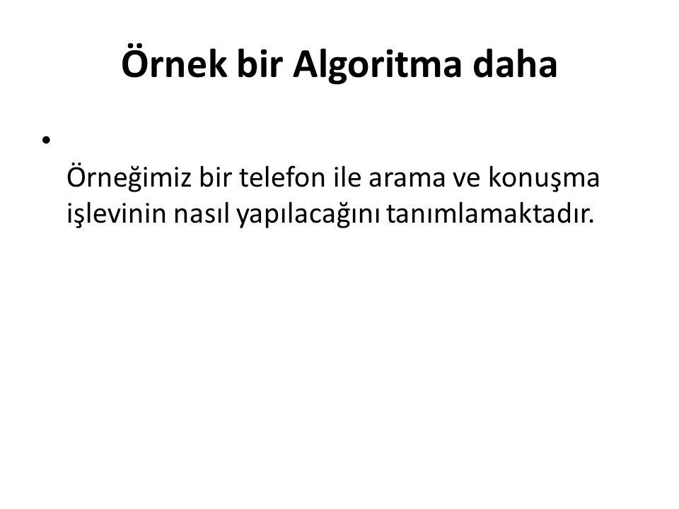 Örnek bir Algoritma daha Örneğimiz bir telefon ile arama ve konuşma işlevinin nasıl yapılacağını tanımlamaktadır.