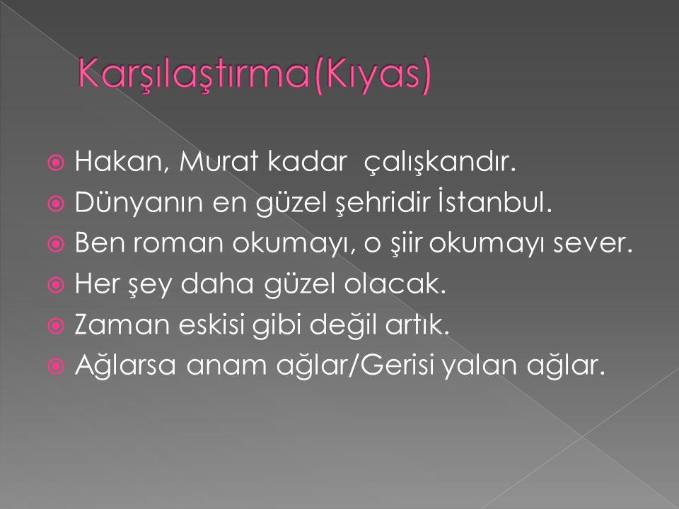  Hakan, Murat kadar çalışkandır.  Dünyanın en güzel şehridir İstanbul.  Ben roman okumayı, o şiir okumayı sever.  Her şey daha güzel olacak.  Zam