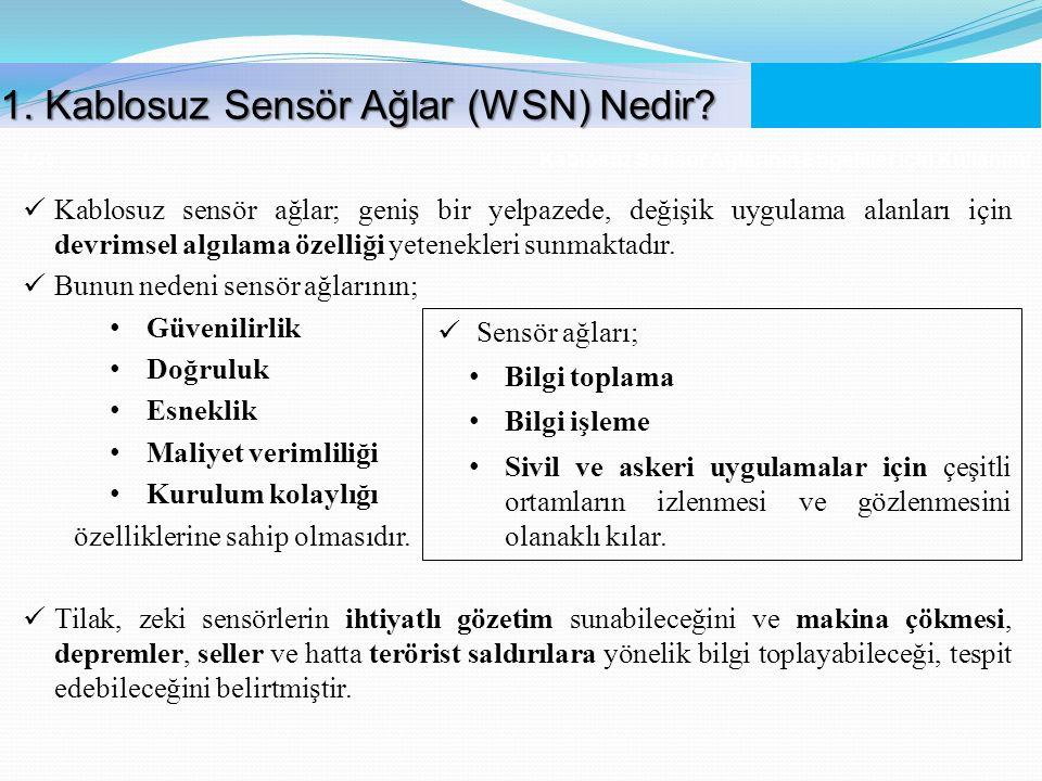 Kablosuz Sensör Ağlarının Engelliler İçin Kullanımı 4 /56 Kablosuz sensör ağlar; geniş bir yelpazede, değişik uygulama alanları için devrimsel algılam