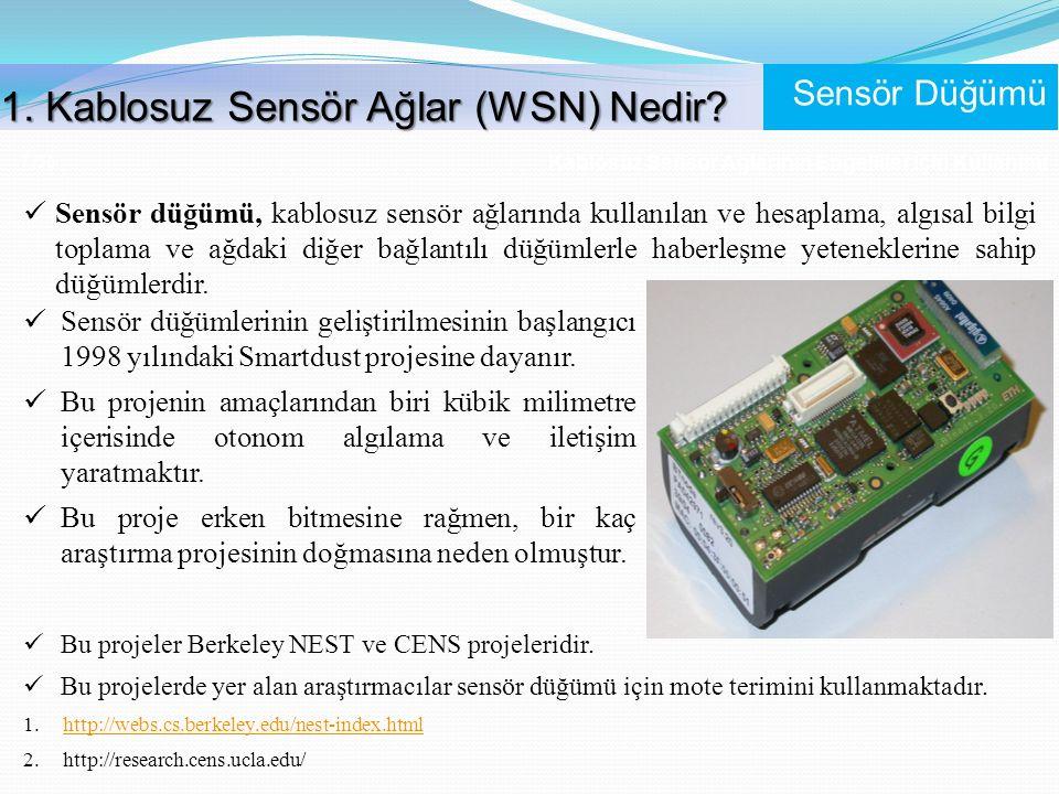 Kablosuz Sensör Ağlarının Engelliler İçin Kullanımı 7 /56 Sensör düğümü, kablosuz sensör ağlarında kullanılan ve hesaplama, algısal bilgi toplama ve a