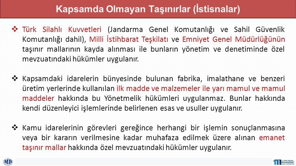 Kapsamda Olmayan Taşınırlar (İstisnalar)  Türk Silahlı Kuvvetleri (Jandarma Genel Komutanlığı ve Sahil Güvenlik Komutanlığı dahil), Milli İstihbarat
