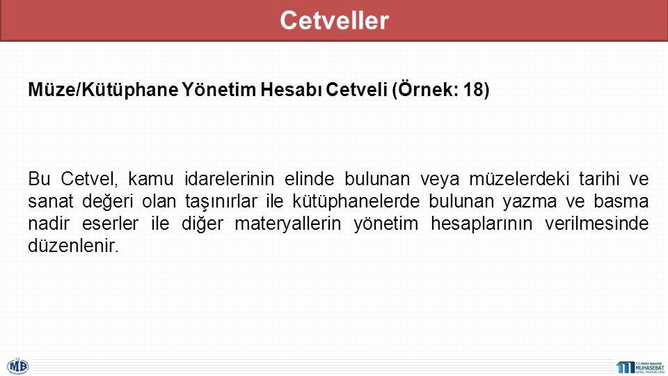 Cetveller Müze/Kütüphane Yönetim Hesabı Cetveli (Örnek: 18) Bu Cetvel, kamu idarelerinin elinde bulunan veya müzelerdeki tarihi ve sanat değeri olan t