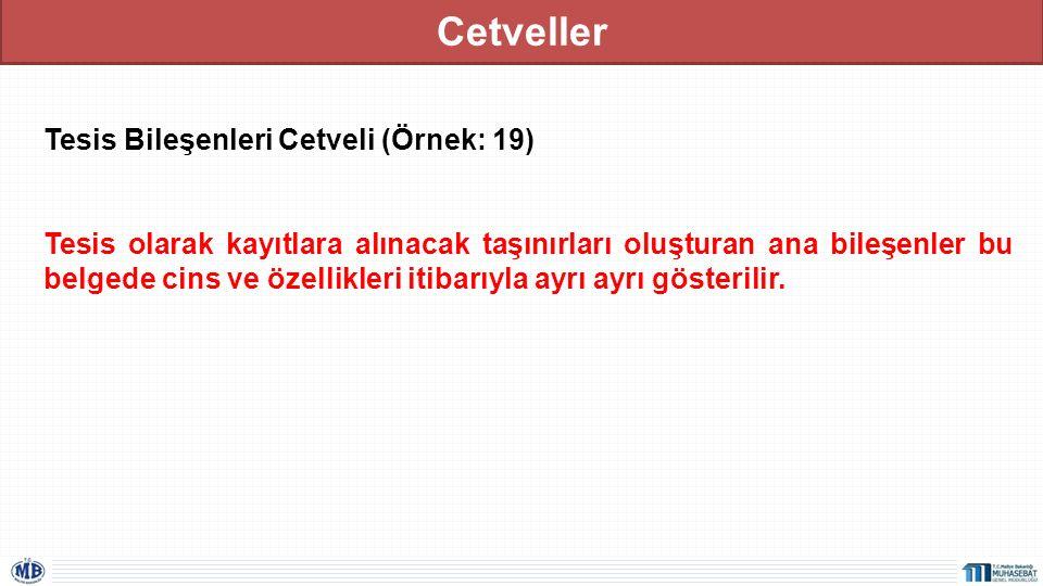Cetveller Tesis Bileşenleri Cetveli (Örnek: 19) Tesis olarak kayıtlara alınacak taşınırları oluşturan ana bileşenler bu belgede cins ve özellikleri it