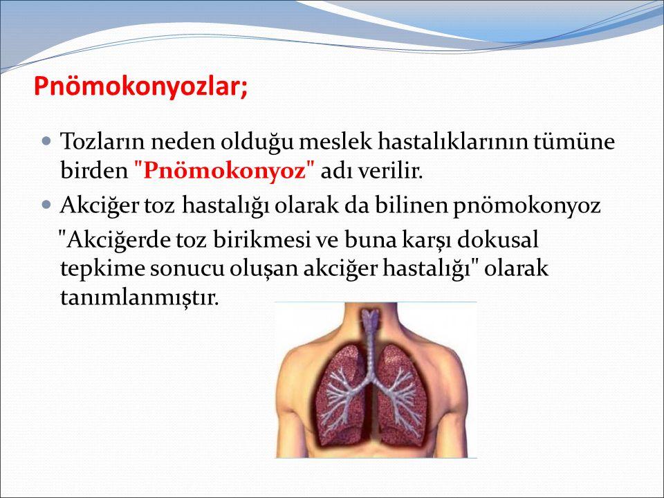 Pnömokonyozlar; Tozların neden olduğu meslek hastalıklarının tümüne birden Pnömokonyoz adı verilir.