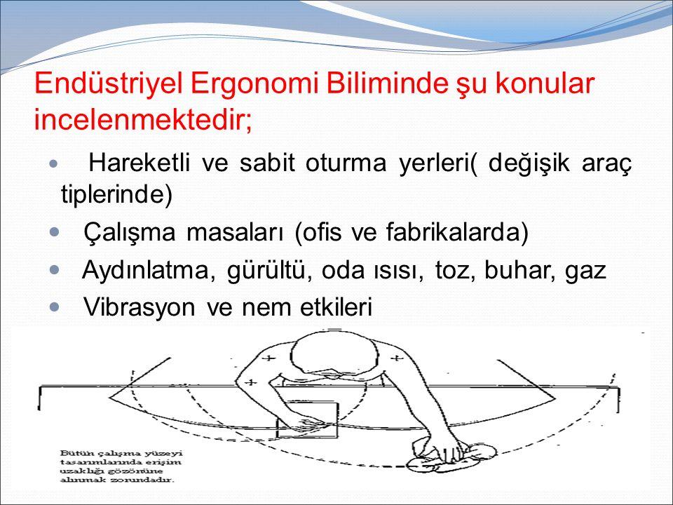 Endüstriyel Ergonomi Biliminde şu konular incelenmektedir; Hareketli ve sabit oturma yerleri( değişik araç tiplerinde) Çalışma masaları (ofis ve fabri