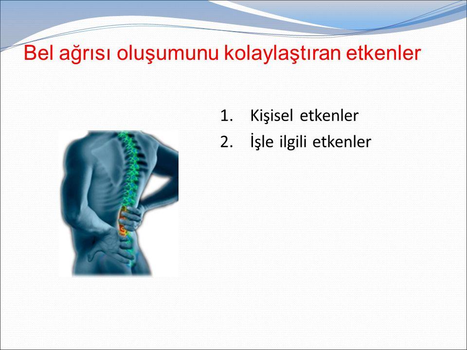 Bel ağrısı oluşumunu kolaylaştıran etkenler 1. Kişisel etkenler 2. İşle ilgili etkenler