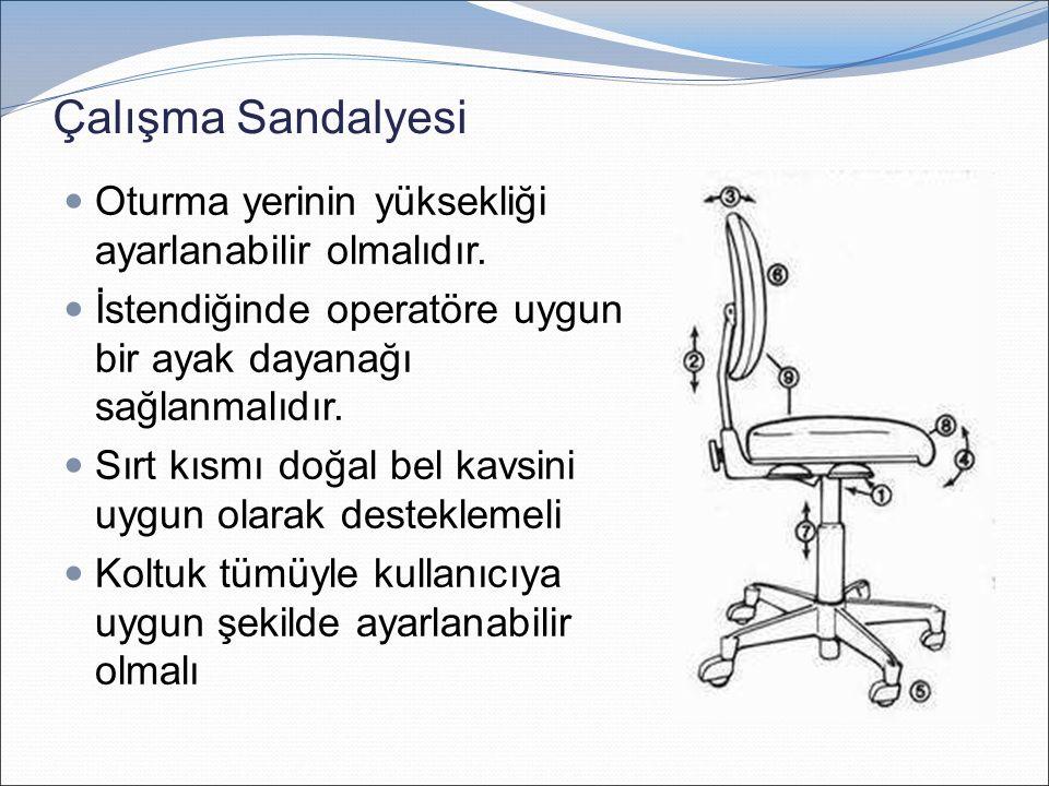 Çalışma Sandalyesi Oturma yerinin yüksekliği ayarlanabilir olmalıdır. İstendiğinde operatöre uygun bir ayak dayanağı sağlanmalıdır. Sırt kısmı doğal b