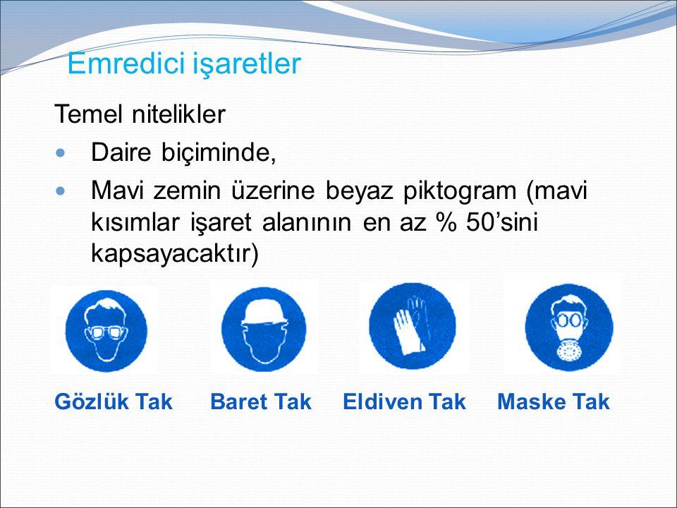 Emredici işaretler Temel nitelikler Daire biçiminde, Mavi zemin üzerine beyaz piktogram (mavi kısımlar işaret alanının en az % 50'sini kapsayacaktır) Gözlük Tak Baret Tak Eldiven Tak Maske Tak