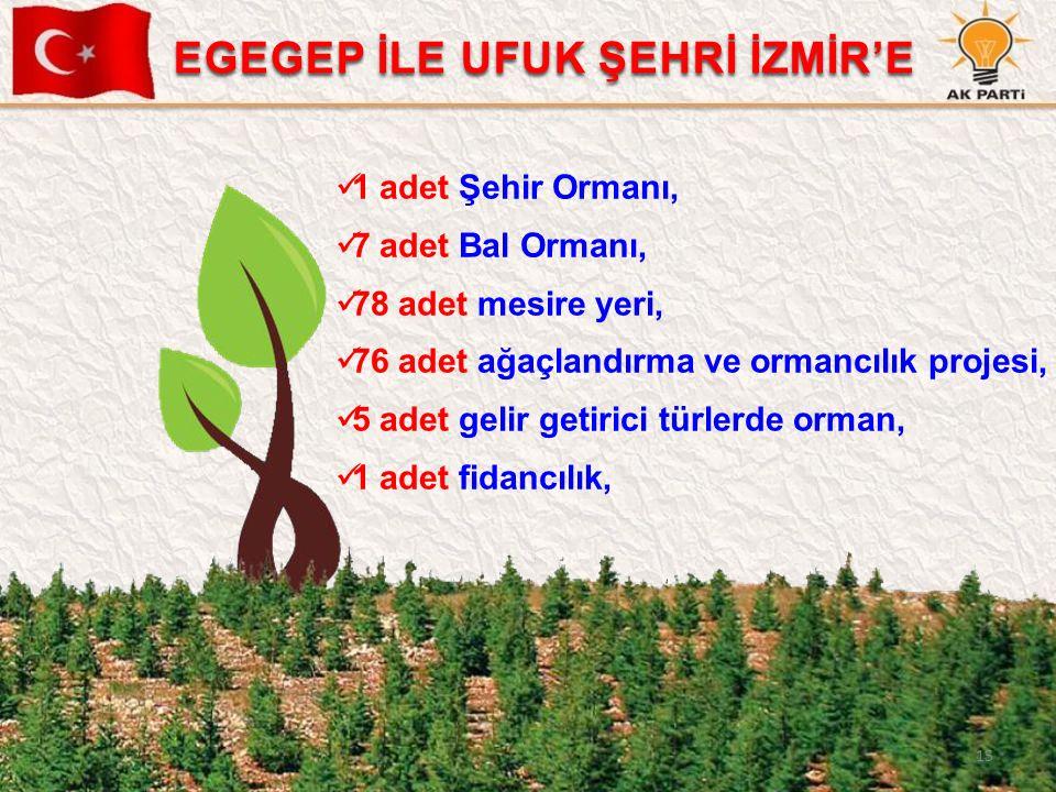 15 1 adet Şehir Ormanı, 7 adet Bal Ormanı, 78 adet mesire yeri, 76 adet ağaçlandırma ve ormancılık projesi, 5 adet gelir getirici türlerde orman, 1 ad