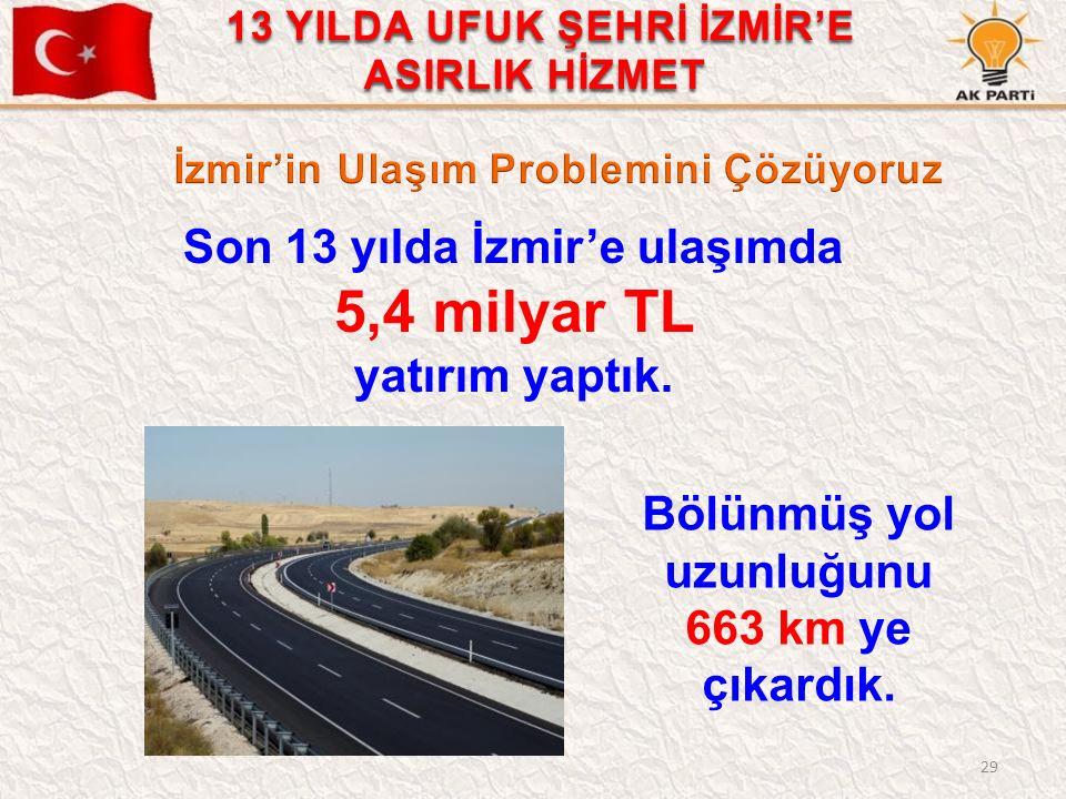 29 Son 13 yılda İzmir'e ulaşımda 5,4 milyar TL yatırım yaptık. Bölünmüş yol uzunluğunu 663 km ye çıkardık. 13 YILDA UFUK ŞEHRİ İZMİR'E ASIRLIK HİZMET
