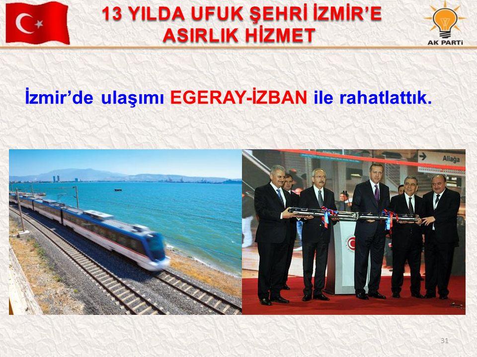 31 İzmir'de ulaşımı EGERAY-İZBAN ile rahatlattık. 13 YILDA UFUK ŞEHRİ İZMİR'E ASIRLIK HİZMET